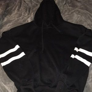 black and white cropped hoodie